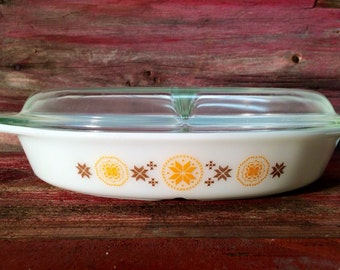 Vintage Pyrex Town and Country Divided Dish Pyrex Casserole Divided Dish