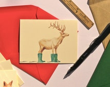 Elk in Hunter rain boots folded note cards with your choice of envelope color.