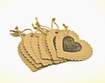 Kraft Paper Tags, Gift Tags, Favor Tags, Wedding Favor Tags, Heart Gift Tags, Heart Favor Tags