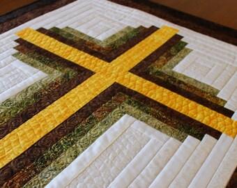"Cross Quilt pattern - Log Cabin Christian Cross - Twin size: 66"" x 90"""