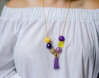 Game Day Necklace, East Carolina Pirates, ECU, Louisiana State University Tigers, LSU, Purple and Gold, Purple and Yellow, LSU Jewelry
