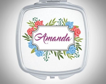 Personalized Compact Mirror -  Floral Pattern - Personalized Bridesmaid Gift - Wedding Favor - Custom Gift, Personalized Gift - Gift for Her