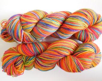 Rainbow Hand Dyed Superwash Merino/ Nylon Sock Yarn