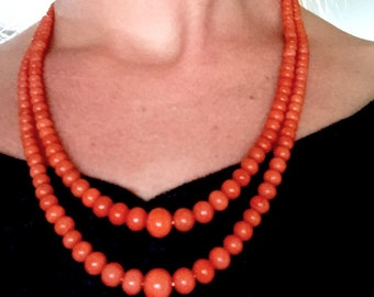 51g! 9.5-4.5mm Quality natural RICH SALMON coral beads 14k gold necklace
