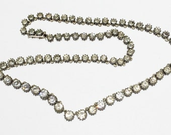 14k Victorian Riviere 14k solid gold and Sterling silver crown settings Paste necklace