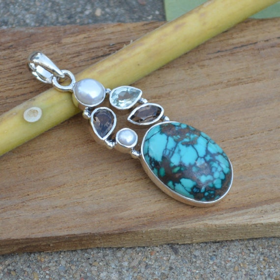 Natural Tibetan Turquoise Pendant, Smoky Pendant, Pearl Set In Sterling Silver Jewelry, Green Amethyst Pendant, Designer Silver Pendant