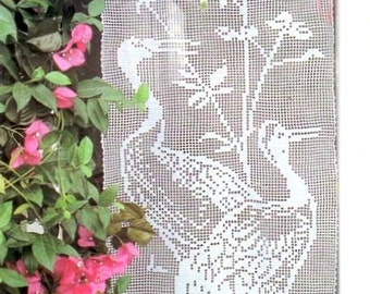 PDF Crochet pattern curtains-tend - filet curtains with herons-  tend- Home decor - vintage  crochet