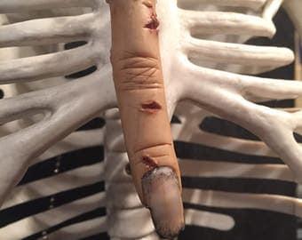 Severed Zombie Finger Necklace. OOAK. Prop. Creepy. HALLOWEEN