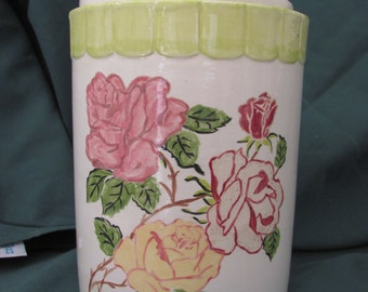 Botanical Series Handpainted Scalloped Rose Cannister - Set of 4