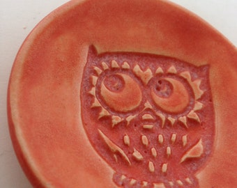 Small Tangerine Owl Pottery Dish
