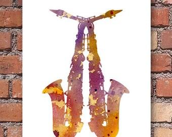 Saxophone Art Print - Abstract Watercolor Painting - Jazz Wall Decor
