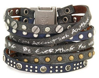 Good Work(s) Elements Believe You Can Come Together Leather Cuff - Black/Blue