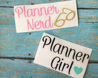 Planner girl decal, Planner nerd decal, Planner stickers, yeti decal, glitter planner decal, california planner girl