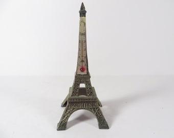 Vintage Metal Eiffel Tower Souvenir Thermometer - Metal Eiffel Tower
