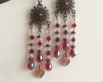 Copper Sheild Dangle Earrings
