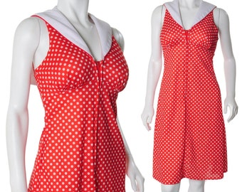 Cherry Red White Polkadot Vintage 80s Sailor Collar Pique Mini Dress Xs S