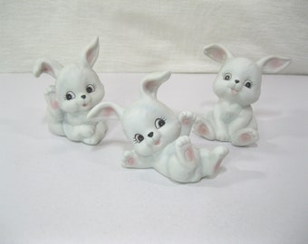 HOMCO White Bunny Rabbits - #1458 - set of three