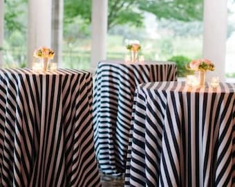 12 Black and White table cloth, Black and White Stripe Tablecloth, Black and White Striped, wholesale lot of 12 Table cloth, Wedding table