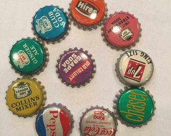 Vintage Pop Bottle Caps; 10 count; 8 have cork