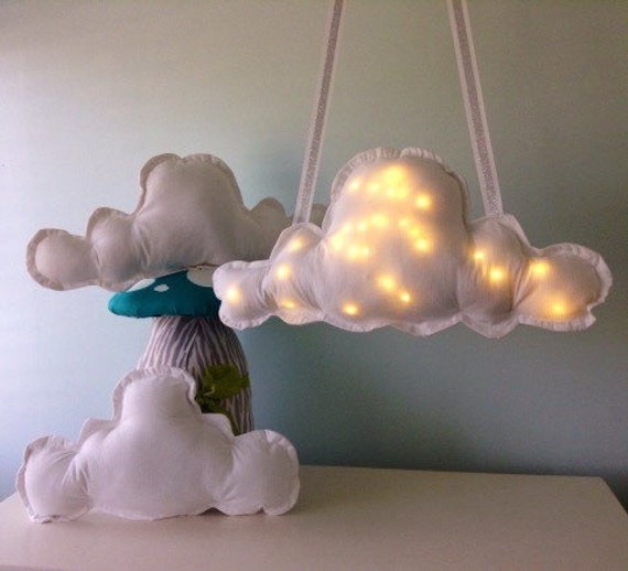 Cloud Pillow And Mobile Nursery Set, Night Light Illuminated Cloud Mobile With Pair of Pillows, White Cloud Cushion Set,  Cloud Light Remote