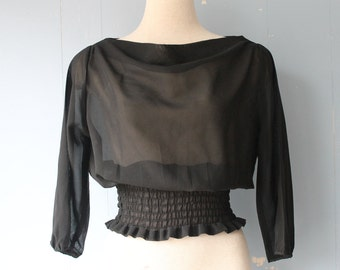 Vintage 90s Sheer Top with Cinched Waist/Black Top
