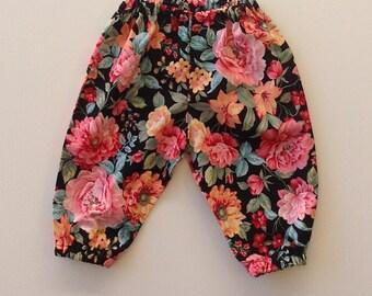 GIRL TODDLER,  girls black floral cotton harem pants , black floral pants, size 3 6 12 18 24 months, baby  girl harems, baby girl pants