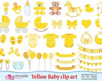 Yellow Baby Clipart. Scrapbook Yellow Baby clip art, Boy Girl Gender Neutral, baby shower clipart, baby shower clip art, new born clipart.