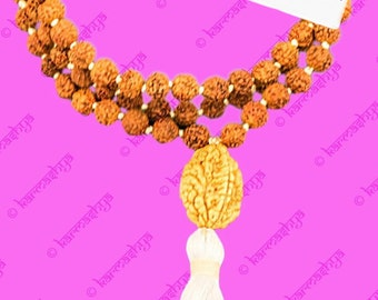 8mm Rudraksha Rudraksh Do Muki 2 Face Japa Mala 108 +1 Bead Rosary White Om Yoga ML0059_White
