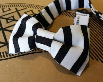 Kids Pre-Tied Bow Tie (Black and White Stripes)