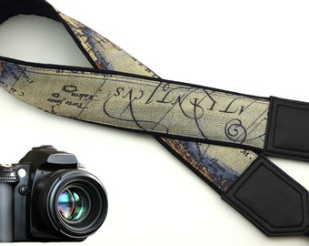 DSLR Camera Strap. Vintage Camera Strap. World Map Camera Strap. Camera accessories. Photographer gift.