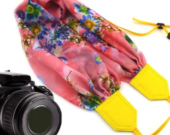 Pink scarf camera strap. Colorful flowers camera strap DSLR. Yellow Camera Strap. Gift for her by InTePro