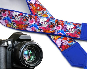 Halloween camera strap. Sugar skulls camera strap. Skulls and roses, and butterflies. DSLR  Camera Strap.