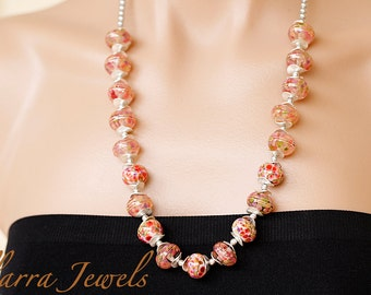 Artisan Handmade Pink Lampwork Glass Bead Necklace with Silver Plated Wavy Beads and Silver Swarovski Glass Pearls – OOAK
