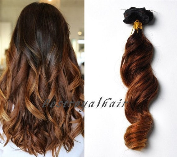 two colors ombre human hair extension 18 clips by. Black Bedroom Furniture Sets. Home Design Ideas