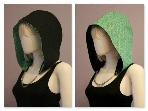 Crystal Hoods / festival hood / reversible / green / geometric /