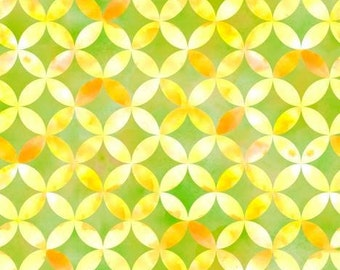 Sun Kissed Floral, Green and Yellow Geo Circle cotton fabric by Quilting Treasures