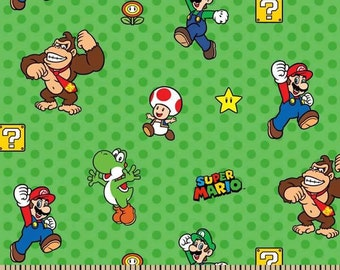 Nintendo Mario, Luigi, and Donkey Kong Cotton Fabric on Green