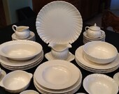 Vintage Wedding Coronado Dish Set <> Dinnerware By Franciscan Pottery <> 54 Piece <> Matte White <> 1940's <> NEAR MINT CONDITION