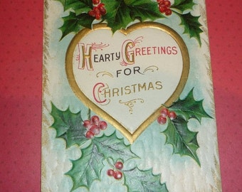 Hearty Greetings For Christmas Antique Embossed Postcard