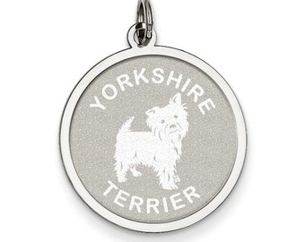 Sterling Silver Yorkshire Terrier Round Disc Dog Lovers Pendant Charm Engraved Personalized Monogram CKLQC2714