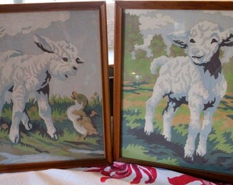 Lamb paint by number set of two
