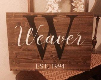 Established sign, personalized wooden sign, wedding sign, wedding gift