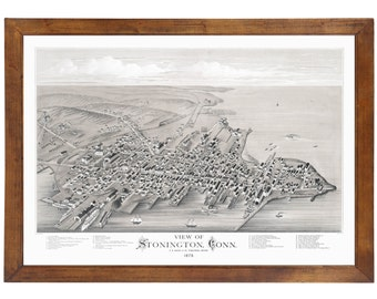 Stonington, CT 1879 Bird's Eye View; 24x36 Print from a Vintage Lithograph