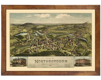 Northborough, MA 1887 Bird's Eye View; 24x36 Print from a Vintage Lithograph