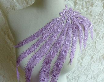 Lavender color, venice lace applique, bridal applique, lavender applique lace trim