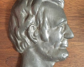 Vintage Bronze Abraham Lincoln Bust Head Wall Hanging