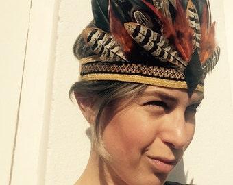 ZENA - handmade feather headdress, Feather Headpiece, Feather Headband, Ibiza, Burning man, Festival Accessories, Tribal, Native