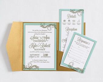 Mint And Gold Wedding Invitation, Mint Green Wedding, Spearmint, Gold  Pocketfold, Mint
