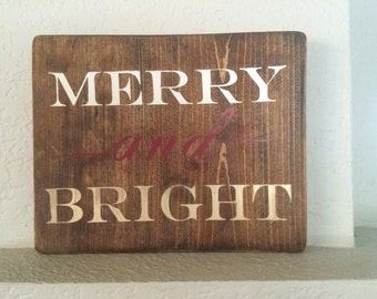 Merry and Bright Wooden Christmas Sign