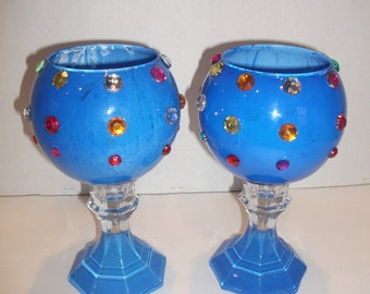 Blue candle Holder set.
